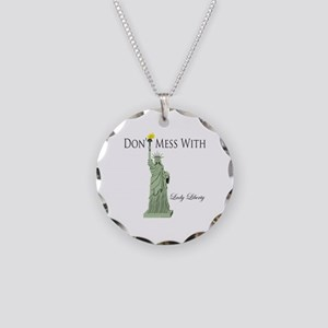 Statue of Liberty, Don't Mes Necklace Circle Charm