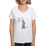 Statue of Liberty, No Terro Women's V-Neck T-Shirt
