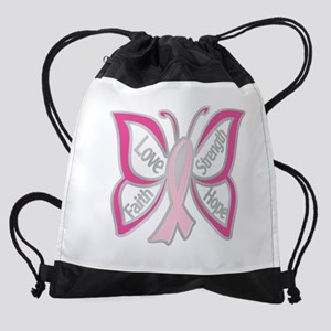 BREAST CANCER BUTTERFLY Drawstring Bag