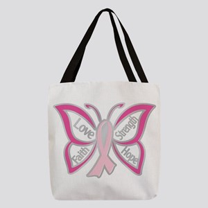BREAST CANCER BUTTERFLY Polyester Tote Bag