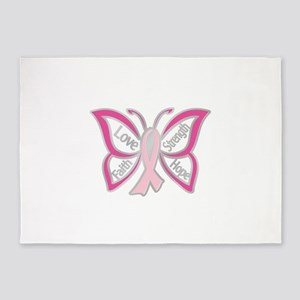 BREAST CANCER BUTTERFLY 5'x7'Area Rug