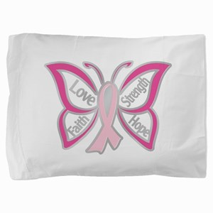 BREAST CANCER BUTTERFLY Pillow Sham
