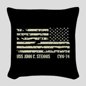 USS John C. Stennis Woven Throw Pillow