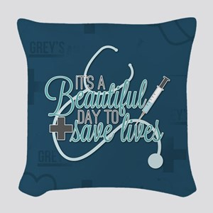It's A Beautiful Day To Save L Woven Throw Pillow