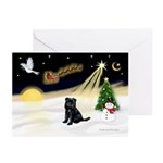 Night Flight - Brussels Greeting Cards (Pk of 10)