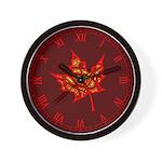 Fire Leaf Wall Clock