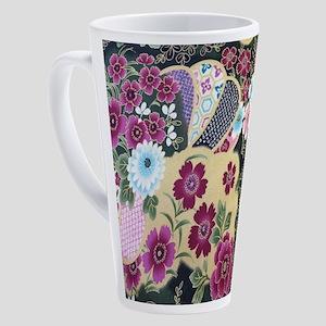 purple japanese sakura floral 17 oz Latte Mug