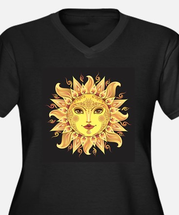 Stylish Sun Women's Plus Size V-Neck Dark T-Shirt