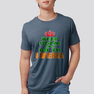 Keep Calm And Go To Liberia Mens Tri-blend T-Shirt