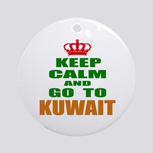 Keep Calm And Go To Kuwait Country Round Ornament