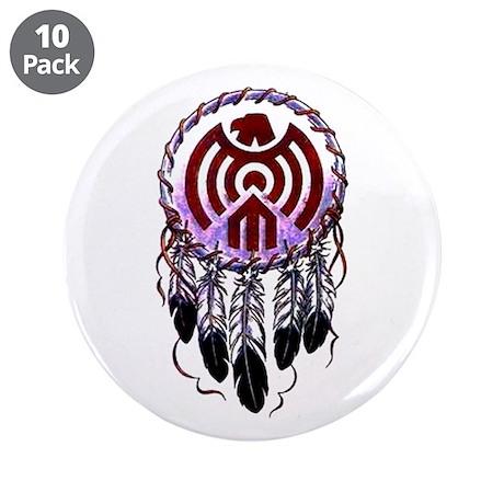 "Native American Dreamcatcher 3.5"" Button (10 pack)"