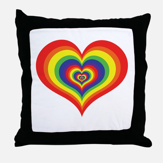 Retro Rainbow Heart Throw Pillow