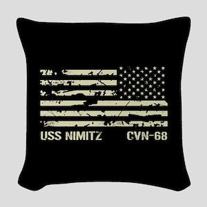 USS Nimitz Woven Throw Pillow