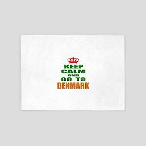 Keep Calm And Go To Denmark Country 5'x7'Area Rug