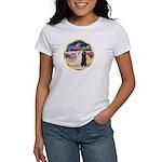 XmasMagic/2 Std Poodles Women's T-Shirt
