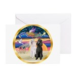 XmasMagic/2 Std Poodles Greeting Cards (Pk of 10)