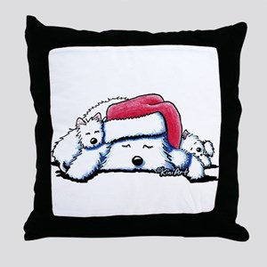 Exhausted Holiday Westies Throw Pillow