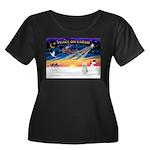 XmasStar/Sib Husky Women's Plus Size Scoop Neck Da