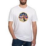 XmasStar/ Gr Dane (blk) Fitted T-Shirt