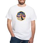 XmasStar/ Gr Dane (blk) White T-Shirt