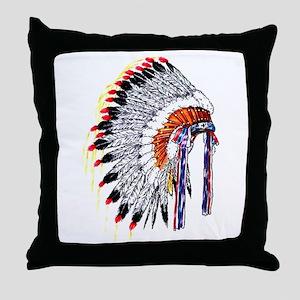 Indian Chief Headdress Throw Pillow