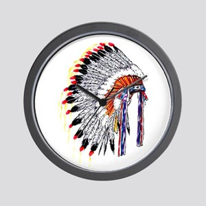 Indian Chief Headdress Wall Clock