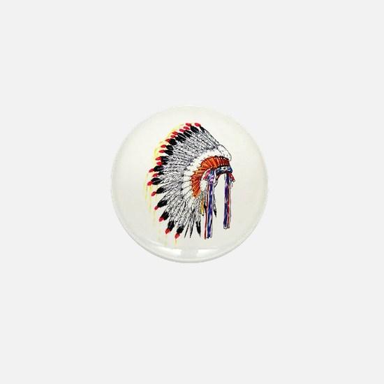 Indian Chief Headdress Mini Button