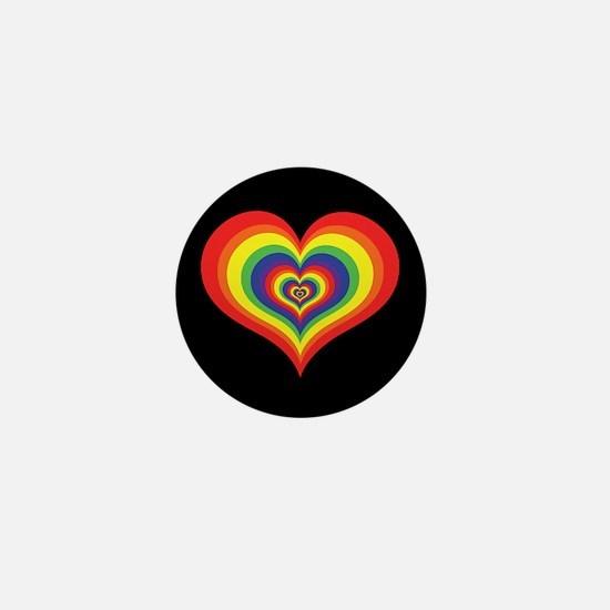 Retro Rainbow Heart Mini Button