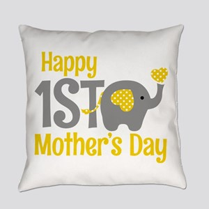 1st Mother's Day Elephant Yellow Everyday Pillow