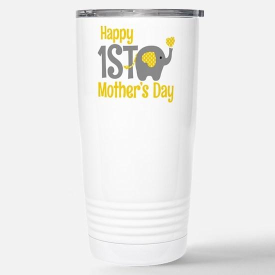 1st Mother's Day Elephant Yellow Travel Mug