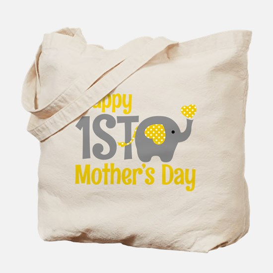 1st Mother's Day Elephant Yellow Tote Bag