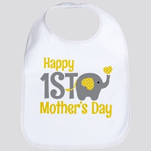 1st Mother's Day Elephant Yellow Baby Bib