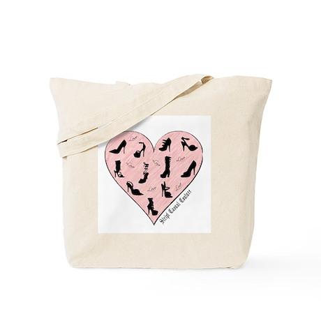 Pink Shoe Heart Tote Bag