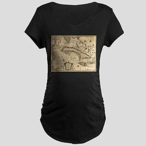 Vintage Map of Cuba (1762) Maternity T-Shirt