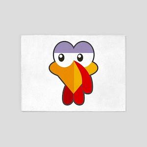 Turkey Face Crazy Eyes Halloween an 5'x7'Area Rug