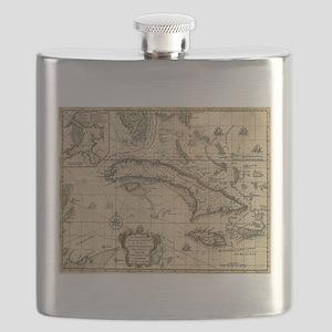 Vintage Map of Cuba (1762) Flask