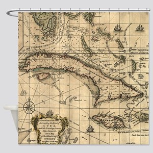 Vintage Map of Cuba (1762) Shower Curtain