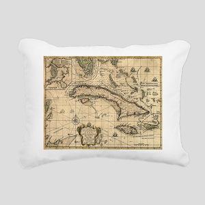 Vintage Map of Cuba (176 Rectangular Canvas Pillow