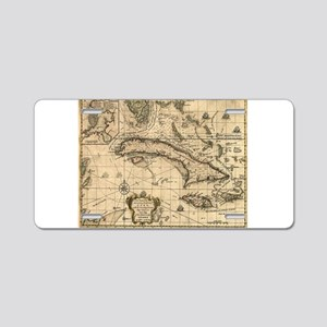 Vintage Map of Cuba (1762) Aluminum License Plate