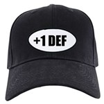 Baseball Hat : +1 Def Black Cap With Patch