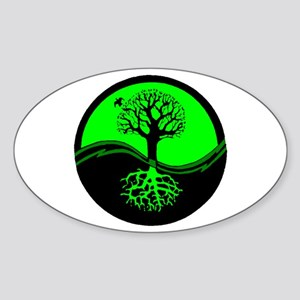Think Green Yin Yang Oval Sticker