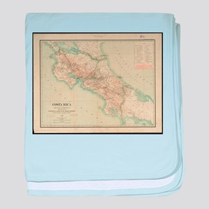 Vintage Map of Costa Rica (1903) baby blanket
