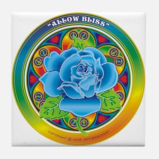 Blue Rose Bliss Tile Coaster