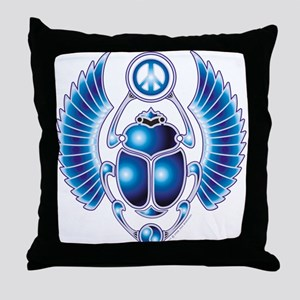 Blue Scarab Throw Pillow