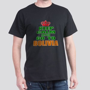 Keep Calm And Go To Bolivia Country Dark T-Shirt