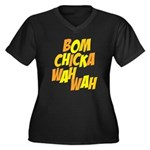 Bom Chicka Wah Wah Women's Plus Size V-Neck Dark T