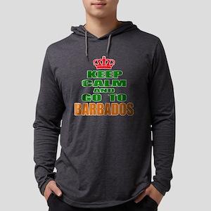 Keep Calm And Go To Barbados Cou Mens Hooded Shirt