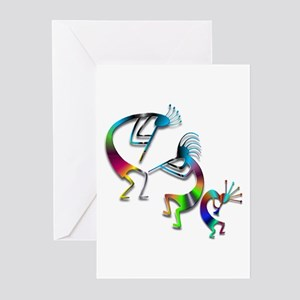 Three Colorful Kokopellis Greeting Cards (Pk of 20