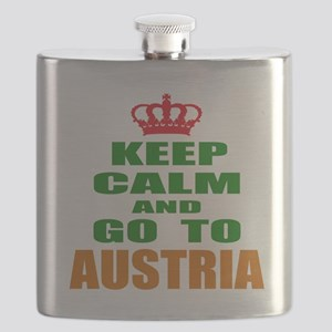 Keep Calm And Go To Austria Country Flask