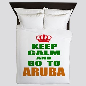 Keep Calm And Go To Aruba Country Queen Duvet